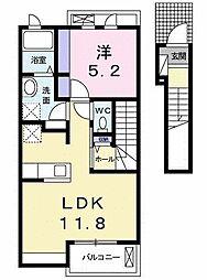 グランディールK.K IV 2階1LDKの間取り
