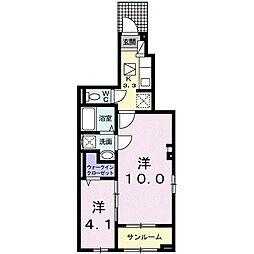 JR東北本線 氏家駅 徒歩3分の賃貸アパート 1階1SKの間取り