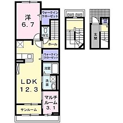 JR東北本線 氏家駅 徒歩3分の賃貸アパート 3階1SLDKの間取り