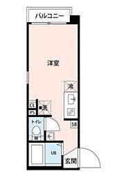 グランクオール川崎 3階ワンルームの間取り