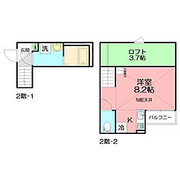 JR東海道本線 辻堂駅 徒歩15分の賃貸アパート 2階ワンルームの間取り