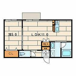 JR横須賀線 鎌倉駅 徒歩12分の賃貸マンション 1階1LDKの間取り