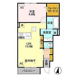 JR水戸線 新治駅 徒歩6分の賃貸アパート 1階1LDKの間取り