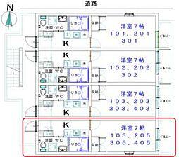 ディアコート東武練馬 1階1Kの間取り