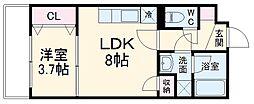 コアビタシオン 2階1LDKの間取り