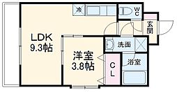 コアビタシオン 3階1LDKの間取り