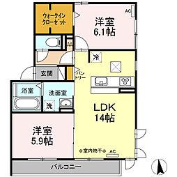 名鉄各務原線 手力駅 徒歩26分の賃貸アパート 2階2LDKの間取り