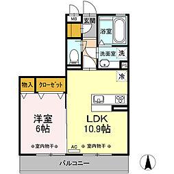 名鉄名古屋本線 岐南駅 徒歩7分の賃貸アパート 3階1LDKの間取り