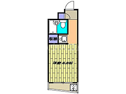 所沢興亜パレス6 3階ワンルームの間取り