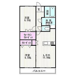 JR東海道本線 沼津駅 5.1kmの賃貸マンション 2階2LDKの間取り