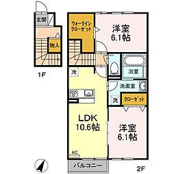 伊豆箱根鉄道駿豆線 伊豆長岡駅 3.1kmの賃貸アパート 2階2LDKの間取り