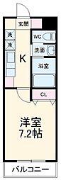 A・City鳴海 3階1Kの間取り