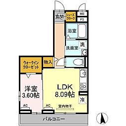 愛知環状鉄道 大門駅 徒歩10分の賃貸アパート 1階1LDKの間取り