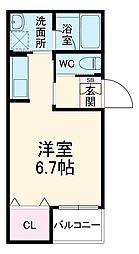 ヴァンベール岡崎 3階ワンルームの間取り