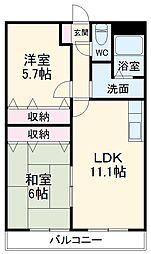 ルーチェ 1階2LDKの間取り