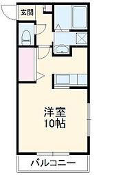 永野マンションIII 1階1Kの間取り