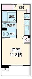 京王相模原線 多摩境駅 徒歩13分の賃貸アパート 2階ワンルームの間取り
