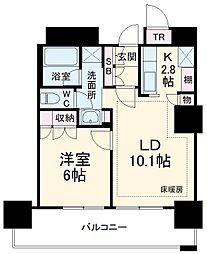 津田沼ザ・タワー 22階1LDKの間取り