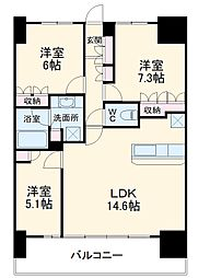 津田沼ザ・タワー 41階3LDKの間取り