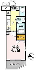 JR京浜東北・根岸線 新子安駅 徒歩12分の賃貸マンション 4階1Kの間取り