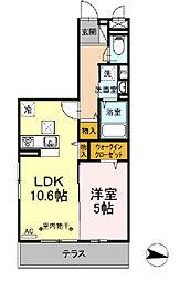小田急江ノ島線 湘南台駅 徒歩5分の賃貸アパート 1階1LDKの間取り