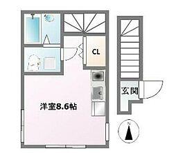 京王井の頭線 久我山駅 徒歩9分の賃貸アパート 2階ワンルームの間取り