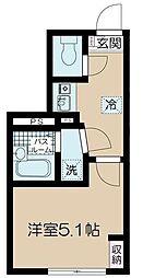 JR中央線 高円寺駅 徒歩9分の賃貸マンション 1階1Kの間取り