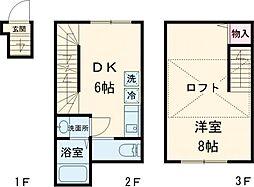 京王井の頭線 永福町駅 徒歩2分の賃貸テラスハウス 2階1DKの間取り