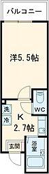 JR総武線 新小岩駅 徒歩7分の賃貸アパート 3階1Kの間取り