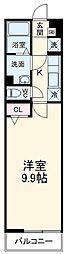 西武池袋線 所沢駅 徒歩9分の賃貸マンション 3階1Kの間取り
