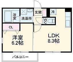 静岡鉄道静岡清水線 新清水駅 徒歩5分の賃貸マンション 4階1LDKの間取り