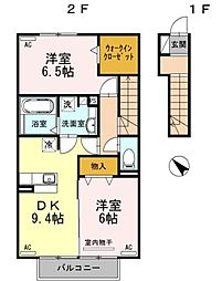 名鉄尾西線 森上駅 徒歩5分の賃貸アパート 2階2DKの間取り