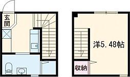 東急東横線 都立大学駅 徒歩15分の賃貸マンション 2階1Kの間取り