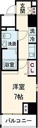 東急池上線 蓮沼駅 徒歩3分の賃貸マンション 2階1Kの間取り