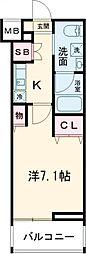 クレヴィスタ板橋西台III 2階1Kの間取り