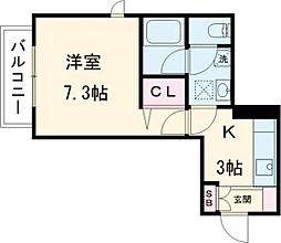 東武東上線 東武練馬駅 徒歩7分の賃貸マンション 1階1Kの間取り