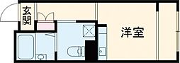 JR中央線 東小金井駅 徒歩2分の賃貸マンション 3階ワンルームの間取り