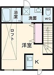 JR中央線 三鷹駅 徒歩12分の賃貸アパート 2階ワンルームの間取り