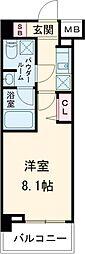 パティーナ東武練馬 2階1Kの間取り