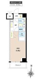 都営三田線 板橋区役所前駅 徒歩7分の賃貸マンション 8階1Kの間取り