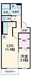 名鉄犬山線 江南駅 徒歩34分の賃貸アパート 2階1LDKの間取り