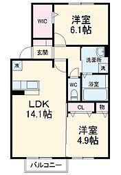 名鉄犬山線 江南駅 徒歩34分の賃貸アパート 2階2LDKの間取り