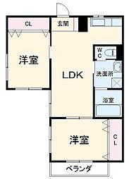 名鉄犬山線 犬山口駅 徒歩7分の賃貸アパート 1階2LDKの間取り