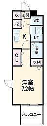 名古屋市営名城線 黒川駅 徒歩4分の賃貸マンション 3階1Kの間取り