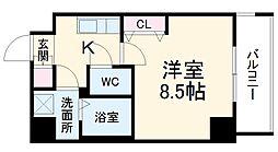 名古屋市営桜通線 高岳駅 徒歩8分の賃貸マンション 11階1Kの間取り