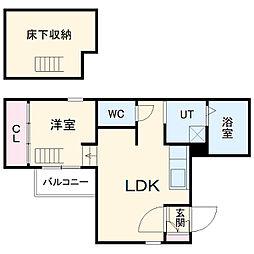 JR中央本線 千種駅 徒歩10分の賃貸アパート 1階1LDKの間取り