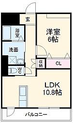 ディアコートKVII 5階1LDKの間取り