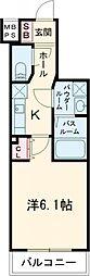 西武池袋線 練馬駅 徒歩7分の賃貸マンション 4階1Kの間取り