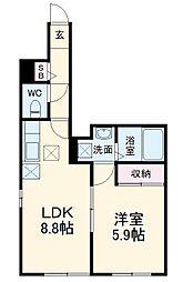 JR南武線 登戸駅 徒歩10分の賃貸アパート 1階1LDKの間取り