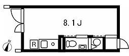 東急目黒線 西小山駅 徒歩6分の賃貸マンション 1階ワンルームの間取り
